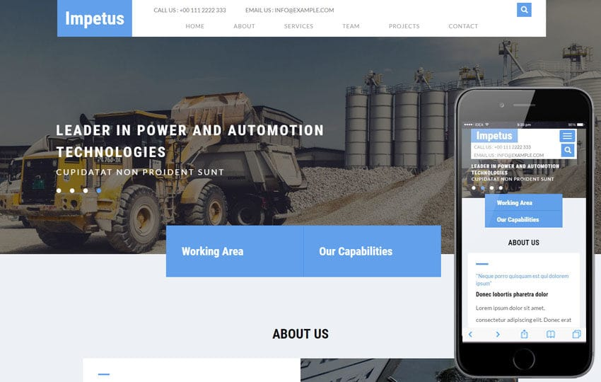 Impetus an Industrial Category Bootstrap Responsive Web Template Mobile website template Free