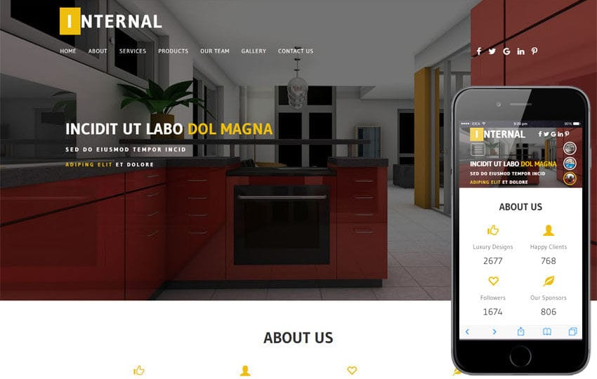 Internal an Interior Category Bootstrap Responsive Web Template Mobile website template Free