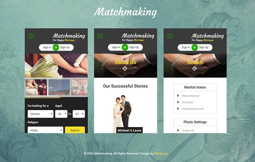Matchmaking a Mobile App Bootstrap Responsive Web Template Mobile website template Free