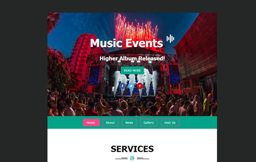 Music Events Template a News Letter Template Mobile website template Free