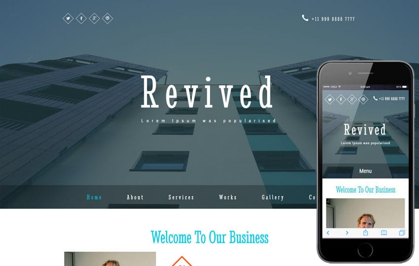 Revived a Corporate Category Bootstrap Responsive Web Template Mobile website template Free