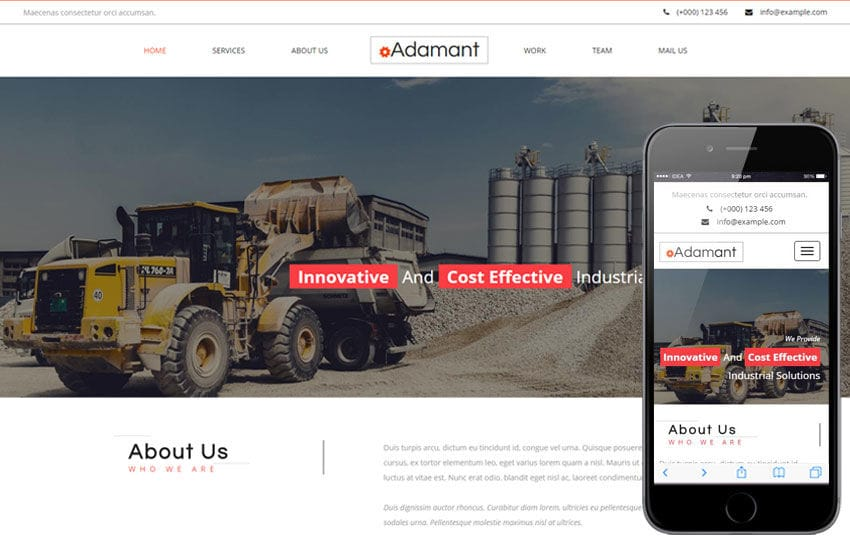 Adamant an Industrial Category Flat Bootstrap Responsive Web Template Mobile website template Free