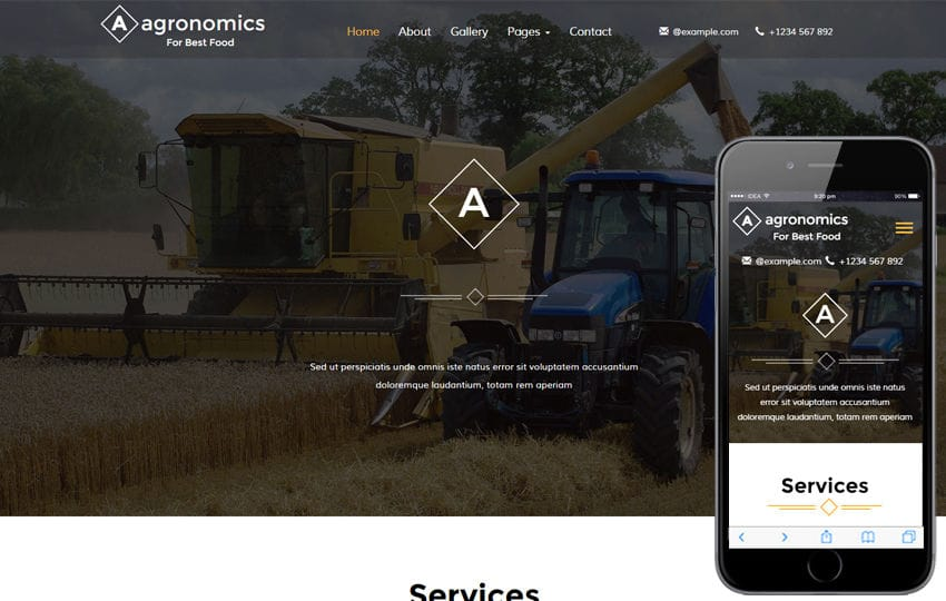 Agronomics an Agriculture Category Flat Bootstrap Responsive Web Template Mobile website template Free