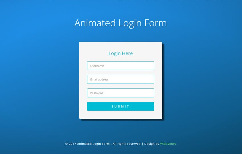 Animated Login Form Flat Responsive Widget Template Mobile website template Free