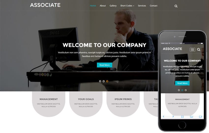 Associate a Corporate Business Category Flat Bootstrap Responsive Website Template Mobile website template Free