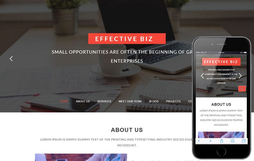 Effective Biz a Corporate Business Category Bootstrap Responsive Web Template Mobile website template Free