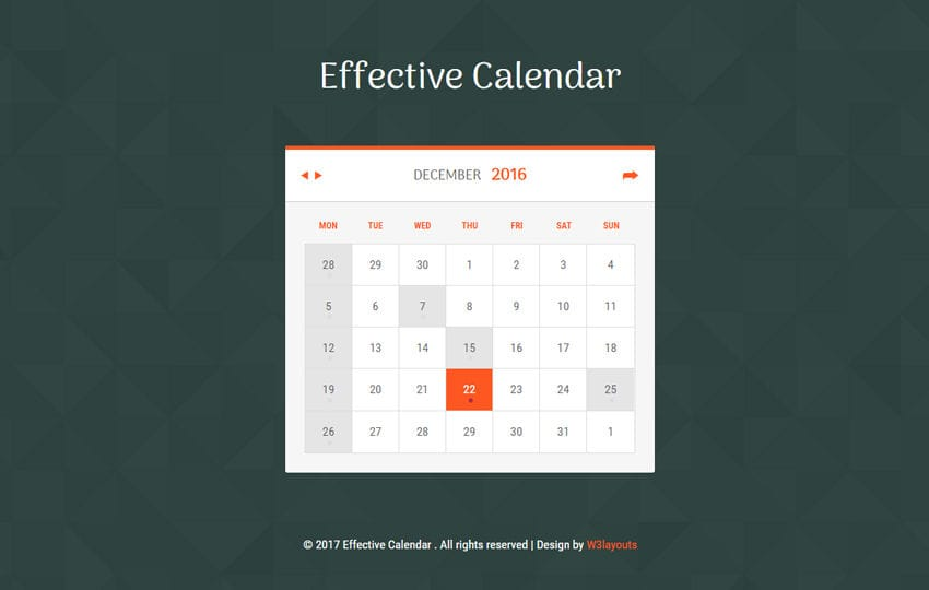 Effective Calendar Flat Responsive Widget Template Mobile website template Free