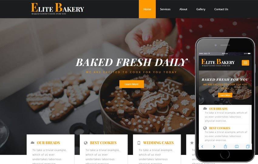 Elite Bakery a Hotel Category Bootstrap Responsive Web Template Mobile website template Free
