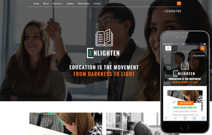 Enlighten an Education Category Flat Bootstrap Responsive Web Template Mobile website template Free