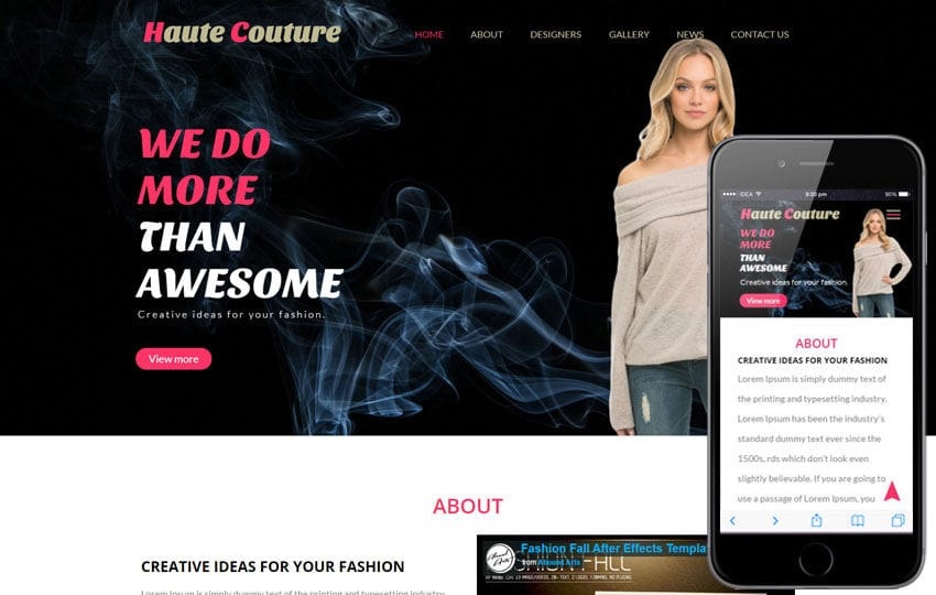 Haute Couture a Fashion Category Flat Bootstrap Responsive Web Template Mobile website template Free
