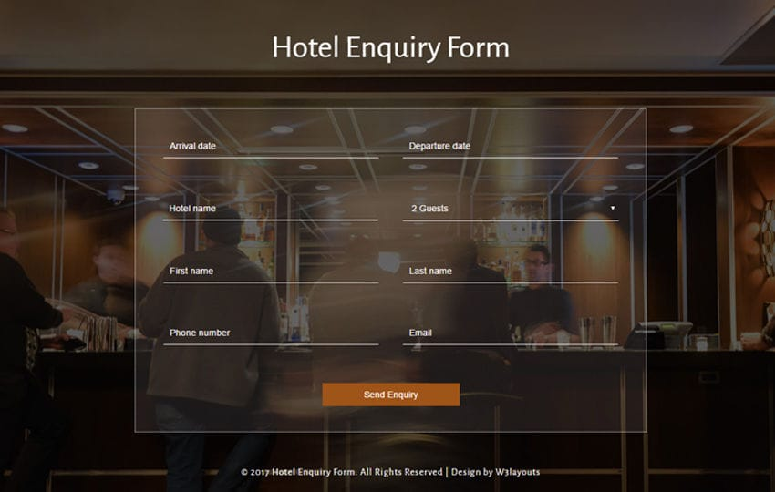 Hotel Enquiry Form a Flat Responsive Widget Template