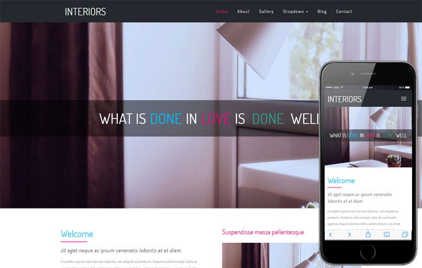 Interiors a Interior Design Category Bootstrap Responsive Website Template Mobile website template Free