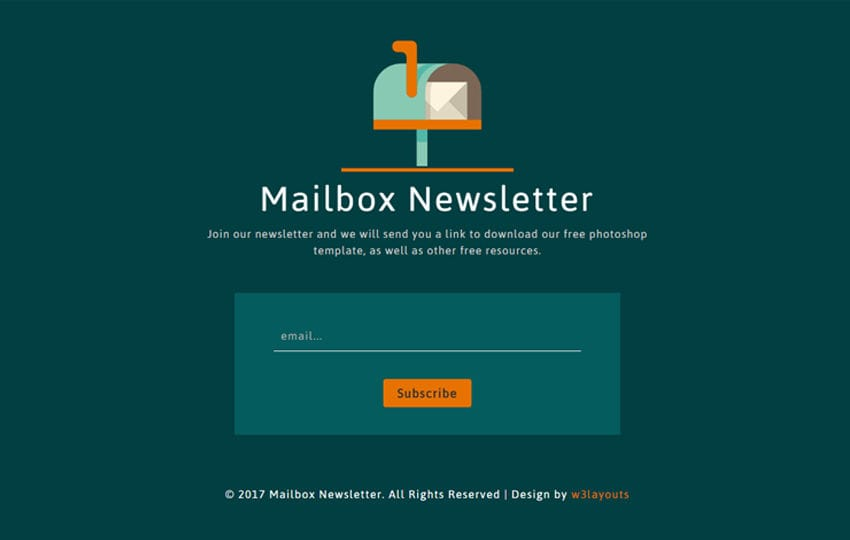 Mailbox Newsletter a Flat Responsive Widget Template Mobile website template Free