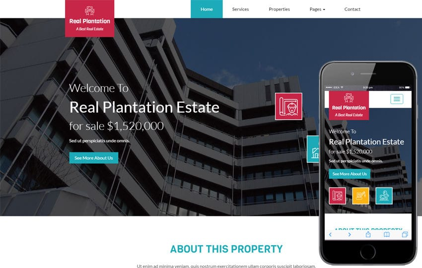 Real Plantation a Real Estate Category Flat Bootstrap Responsive Web Template Mobile website template Free