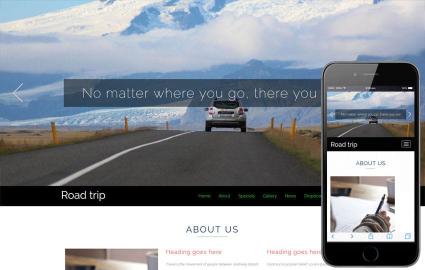 Road trip a Travel Category Bootstrap Responsive Website Template Mobile website template Free
