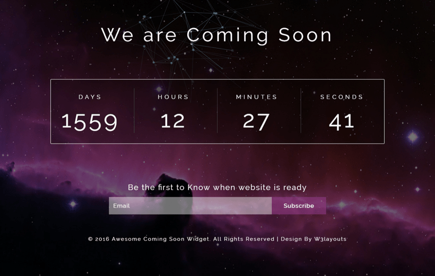 Awesome Coming Soon Widget Flat Responsive Widget Template Mobile website template Free