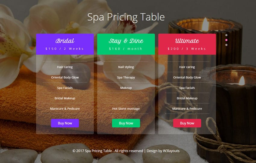 Spa Pricing Table Flat Responsive Widget Template
