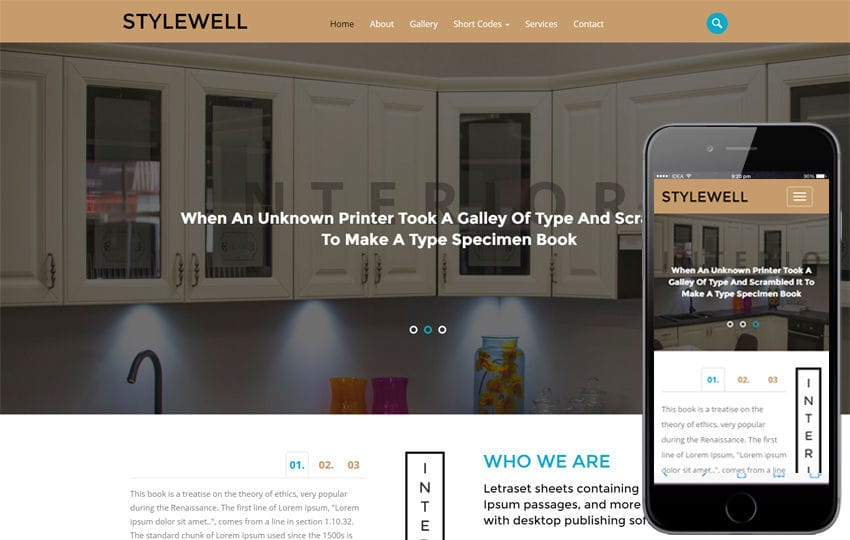 Stylewell an Interior Category Flat Bootstrap Responsive Web Template Mobile website template Free