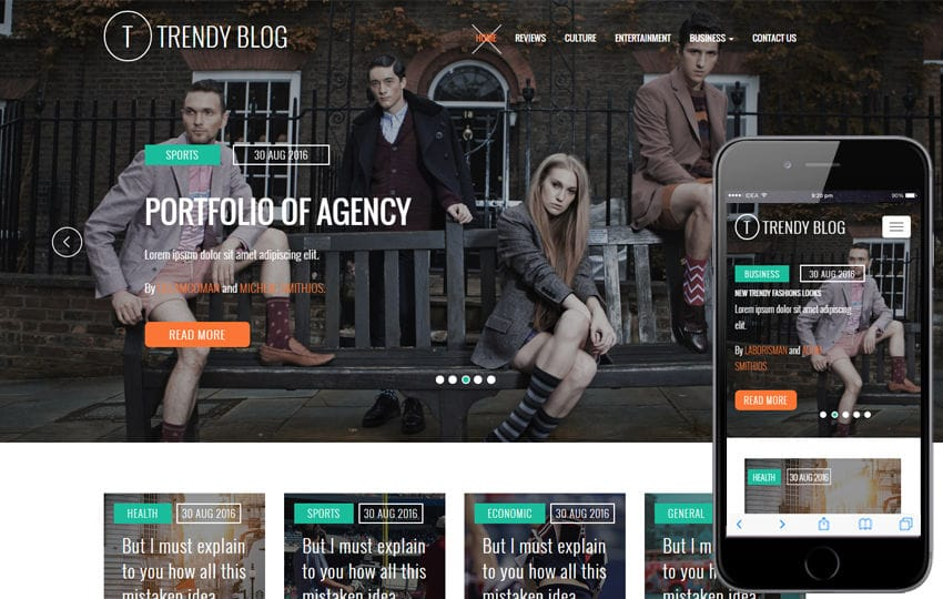 Blog mobile website templates trendy blog fbccfo
