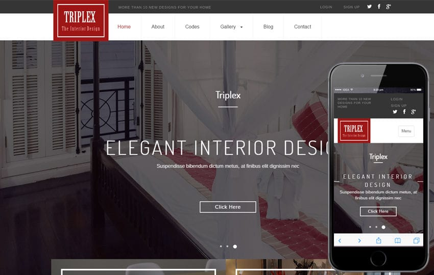Triplex an Interior Category Flat Bootstrap Responsive Web Template Mobile website template Free