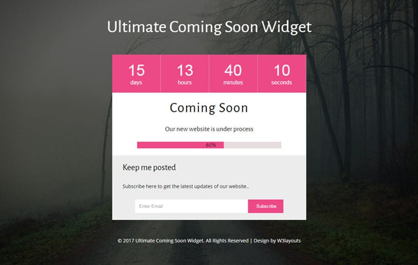 Ultimate Coming Soon Widget a Flat Responsive Widget Template