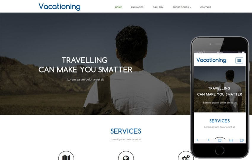 Vacationing a Travel Category Flat Bootstrap Responsive Web Template Mobile website template Free