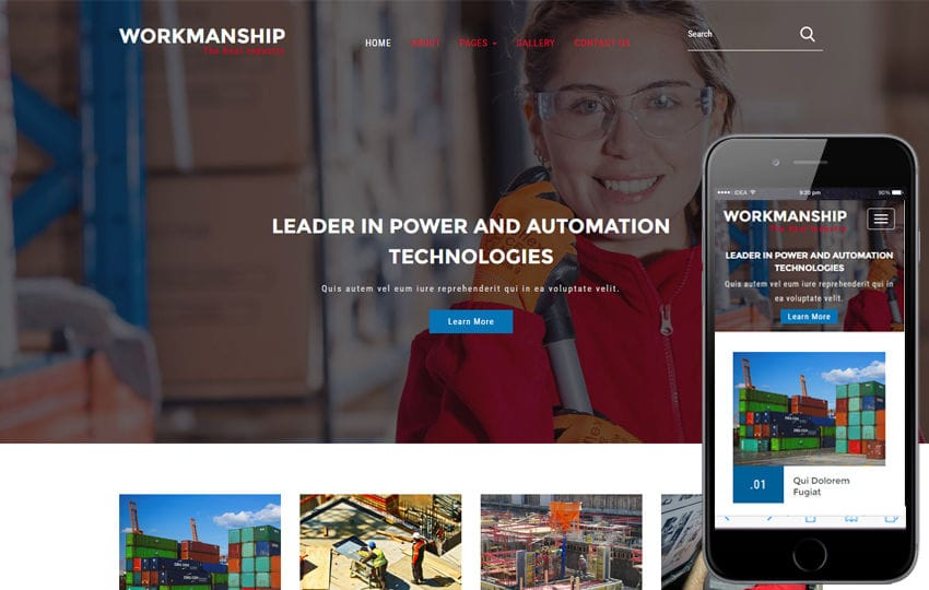 Workmanship an Industrial Category Flat Bootstrap Responsive Web Template Mobile website template Free