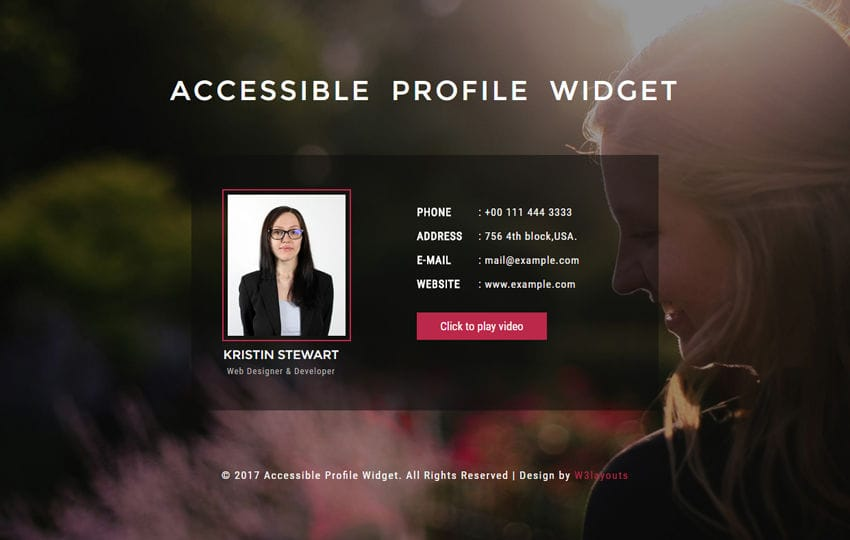 Accessible Profile Widget a Responsive Widget Template Mobile website template Free
