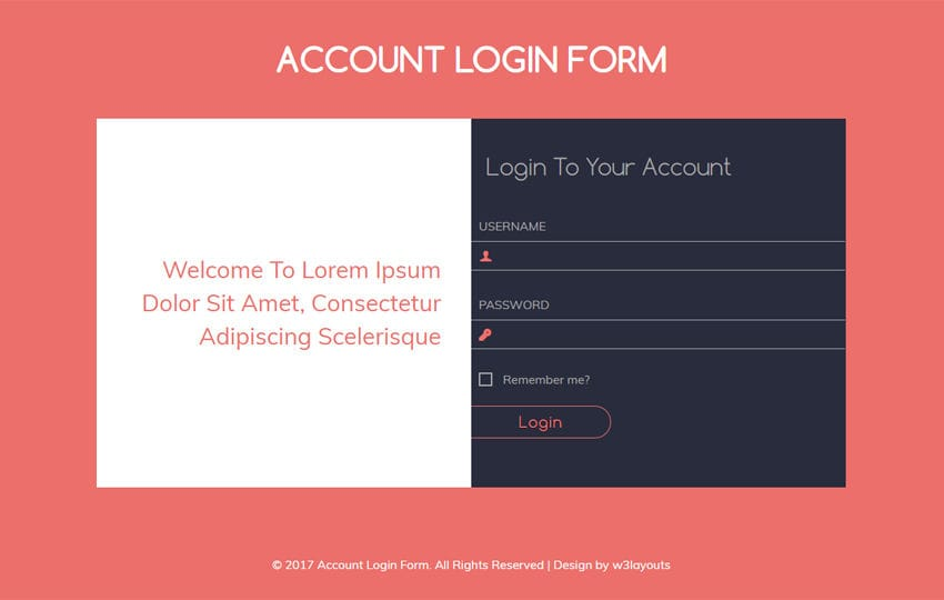 Account Login Form Flat Responsive widget Template Mobile website template Free