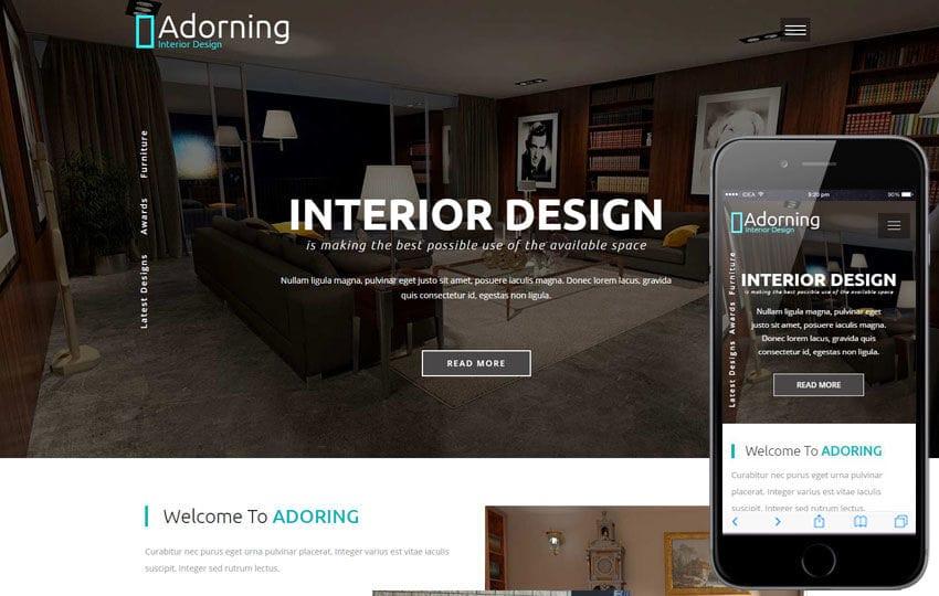 interior design website template. adorning an interior and furniture  category bootstrap responsive web .