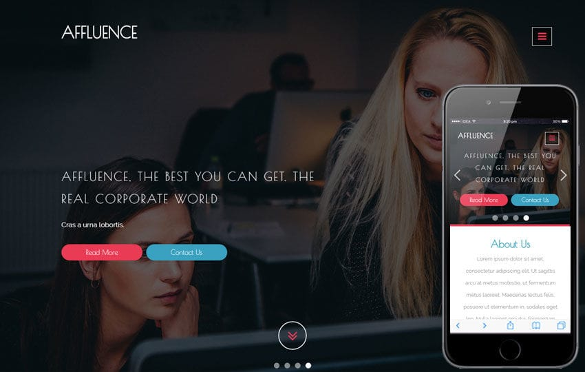Affluence a Corporate Category Flat Bootstrap Responsive Web Template Mobile website template Free