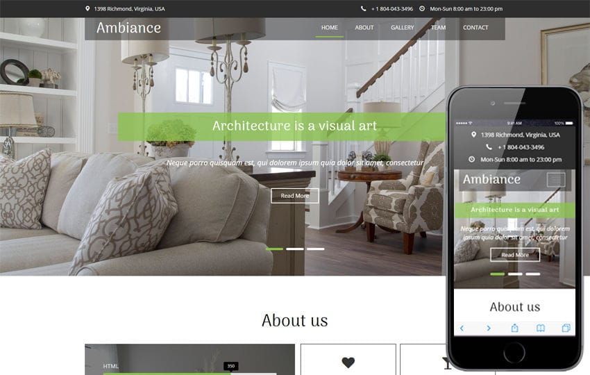 Ambiance an Interior and Furniture Category Flat Bootstrap Responsive Web Template Mobile website template Free