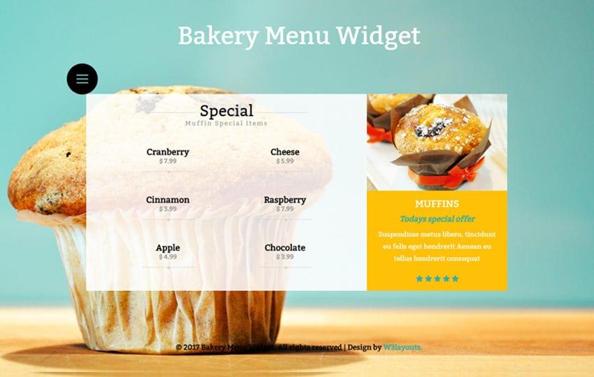 Bakery Menu Widget a Flat Responsive Widget Template