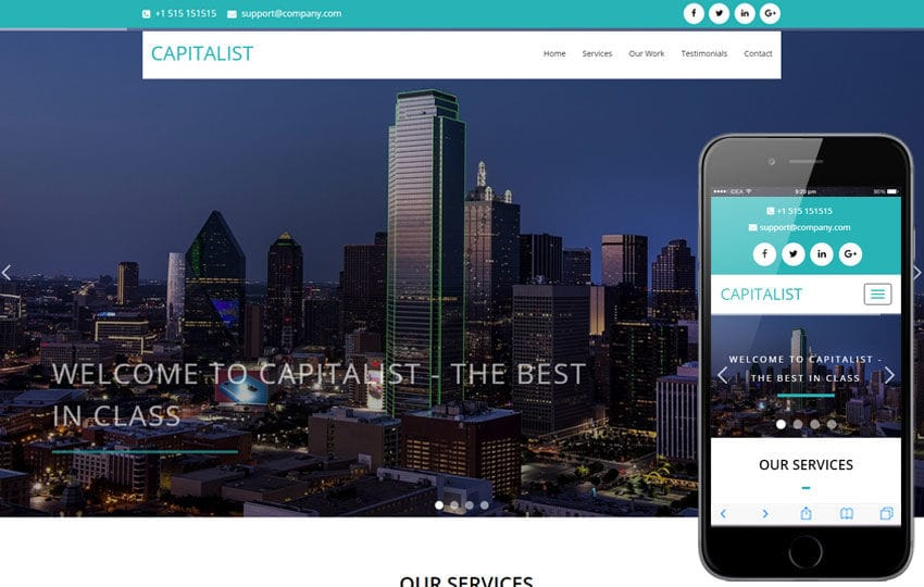 Capitalist a Corporate Category Flat Bootstrap Responsive Web Template Mobile website template Free