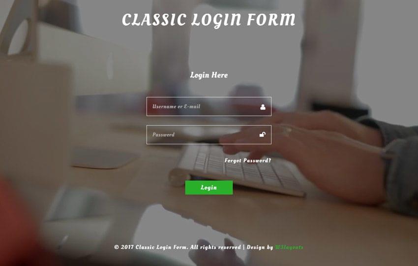 reset password form responsive widget template