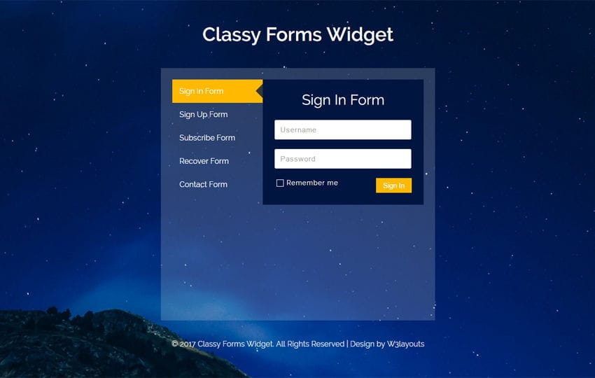 Classy Forms Widget a Flat Responsive Widget Template Mobile website template Free