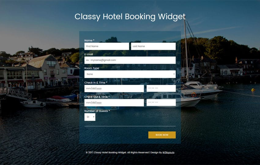 Classy Hotel Booking Widget Flat Responsive Widget Template Mobile website template Free