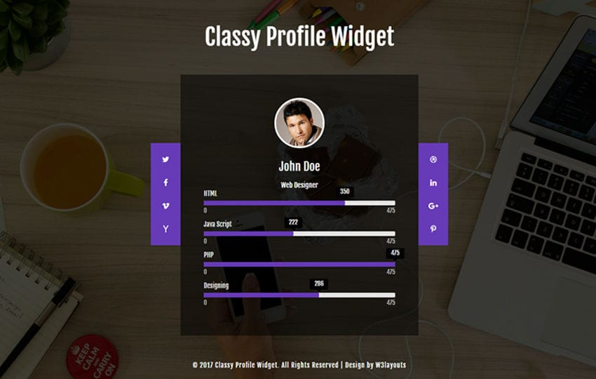 Classy Profile Widget a Flat Responsive Widget Template Mobile website template Free