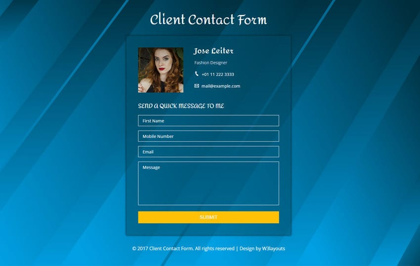 Client Contact Form a Flat Responsive Widget Template Mobile website template Free
