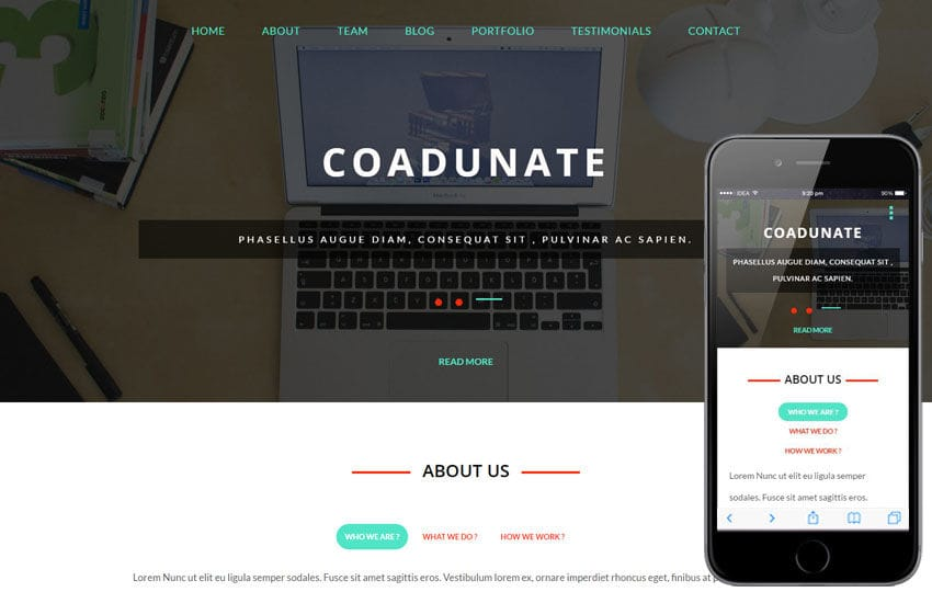 Coadunate a Corporate Business Category Flat Bootstrap Responsive Web Template Mobile website template Free