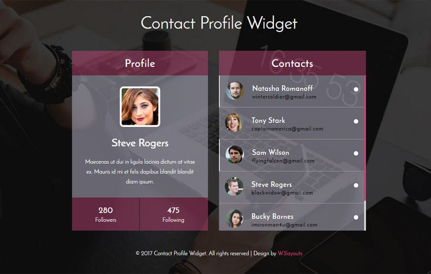 Simple footer responsive widget template for Responsive stylesheet template