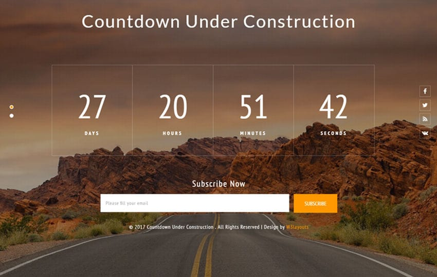 Countdown Under Construction Flat Responsive Widget Template Mobile website template Free
