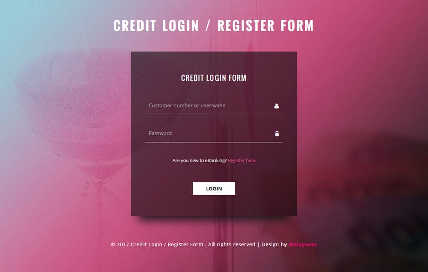 credit login and register form a responsive widget template
