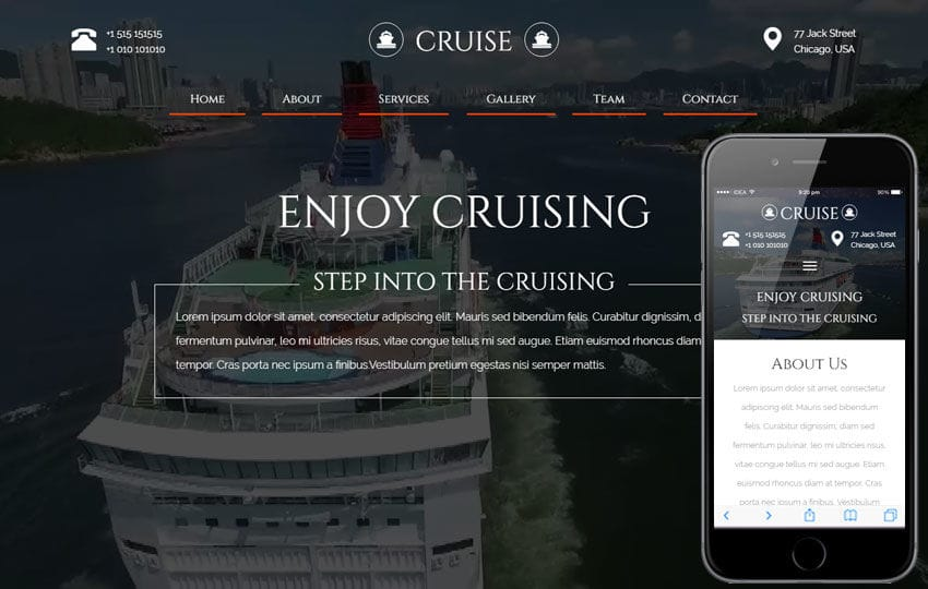 Cruise a Travel Category Flat Bootstrap Responsive Web Template Mobile website template Free