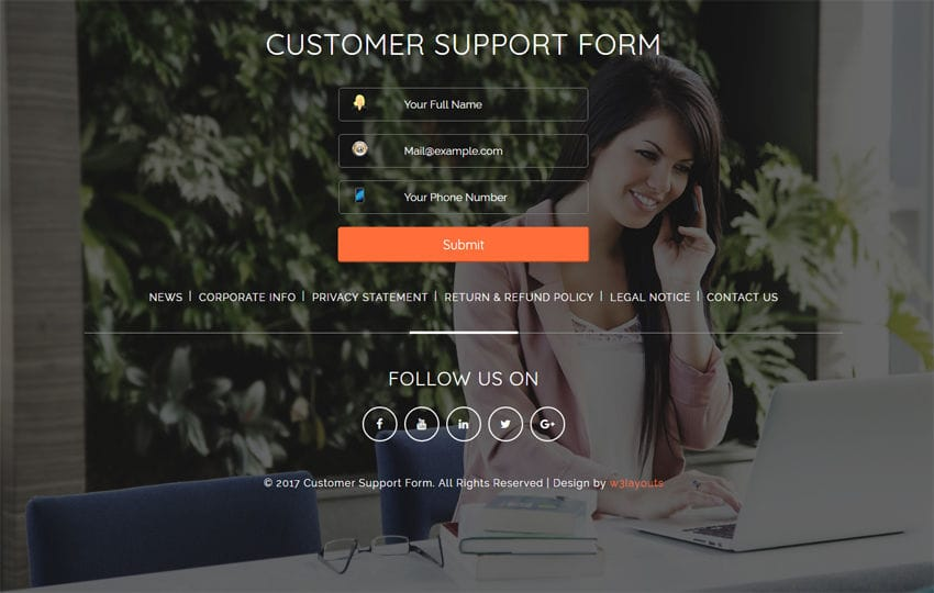 Customer Support Form Flat Responsive widget Template Mobile website template Free