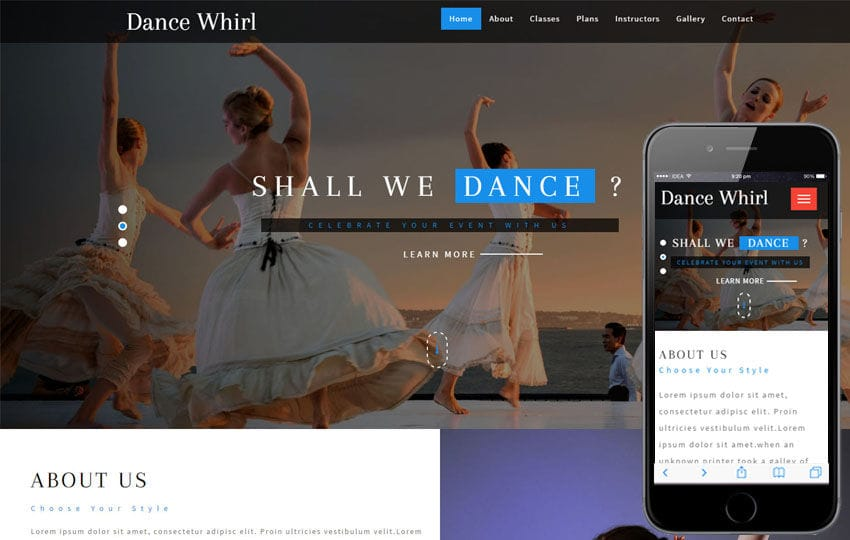 Dance Whirl an Entertainment Category Bootstrap Responsive Web Template Mobile website template Free
