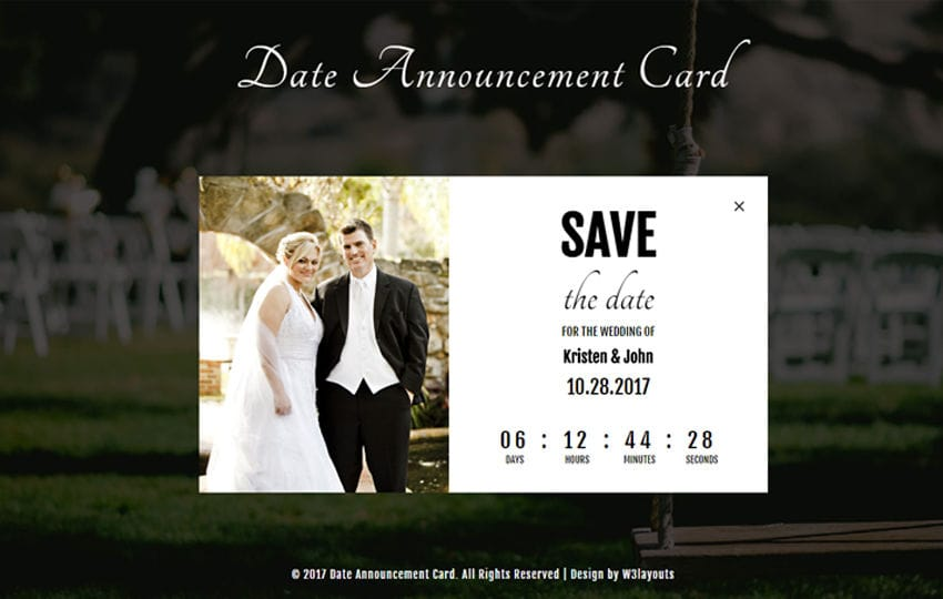Date Announcement Card a Flat Responsive Widget Template Mobile website template Free