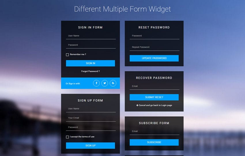 Different Multiple Form Widget Flat Responsive Widget Template Mobile website template Free