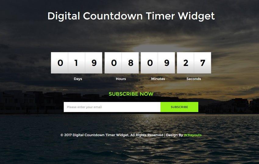 digital countdown timer widget flat responsive widget template