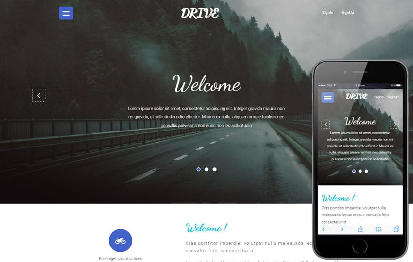 Drive a Travel Category Flat Bootstrap Responsive web Template Mobile website template Free
